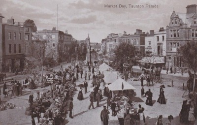 somerset, taunton, old photo of market day